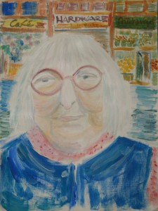 Watercolour of Jane Jacobs by Hilary Forrest