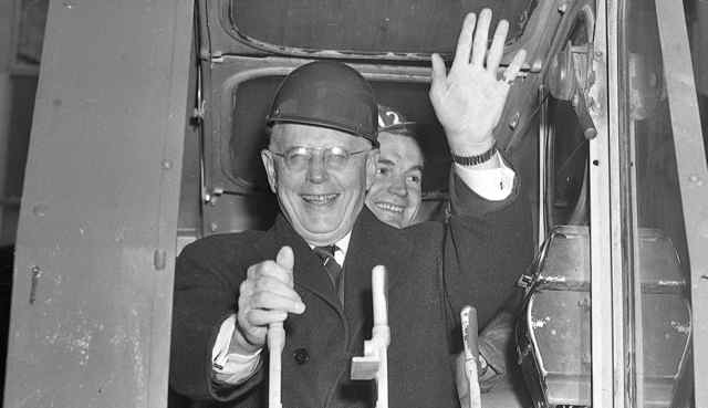 Instead of funding, premier Leslie Frost arrived at the November 1959 ground-breaking ceremony with only a red hard hat and a speech warning local politicians not to go too far into debt for their ambitious University-Bloor-Danforth subway project.