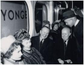 Prime Minister Lester Pearson rides the Bloor-Danforth on opening day in 1966, possibly the only time he ever rode Toronto's subway. Like all senior governments, his was guilty of fare evasion.