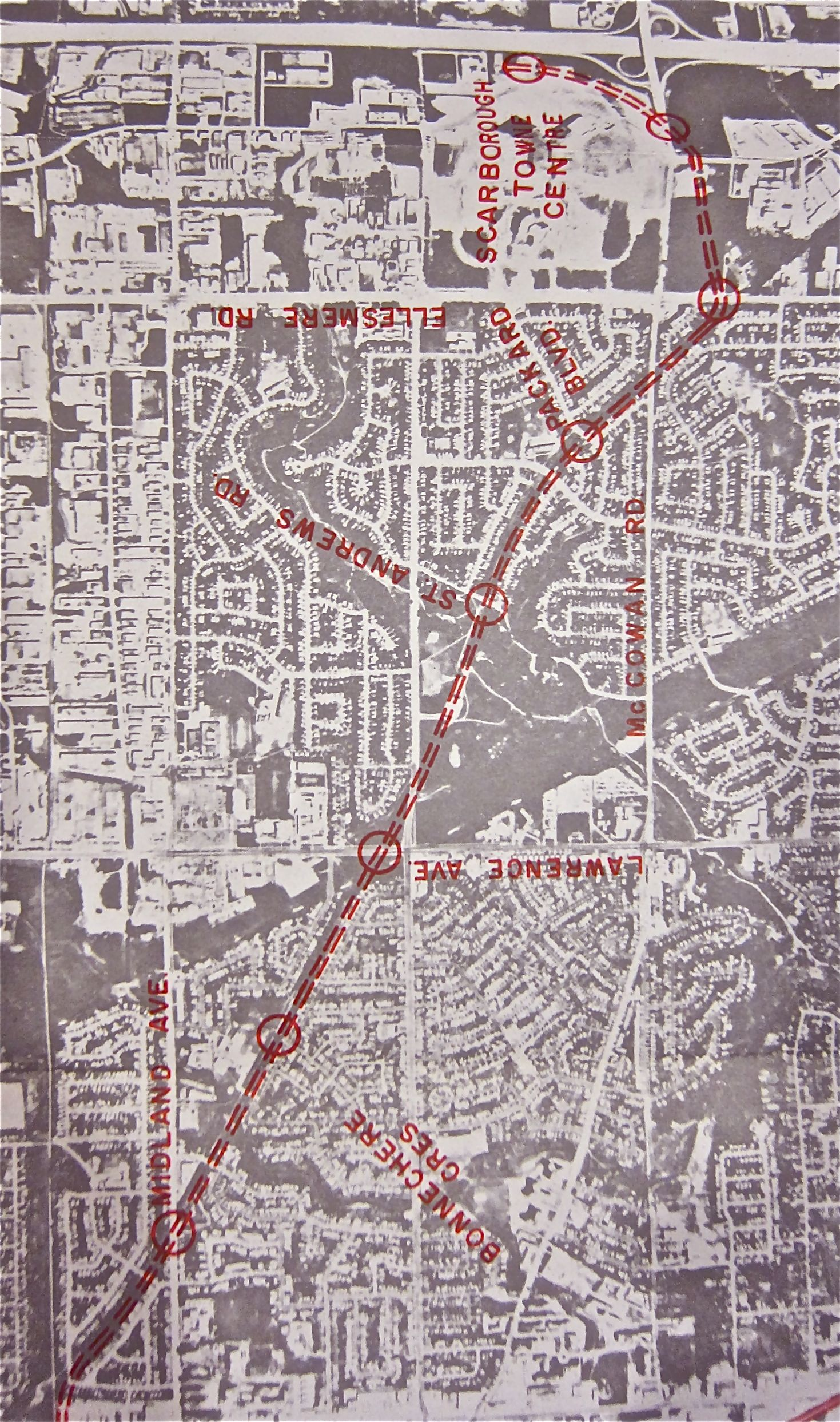 The original Scarborough light-rail proposal used the old Canadian Northern Orono subdivision (a plan killed when it ran into opposition that could literally be called Not In My Back Yard). There's a strong chance the original  and relatively inexpensive subway idea also used this route, though we'll never know without the lost report.