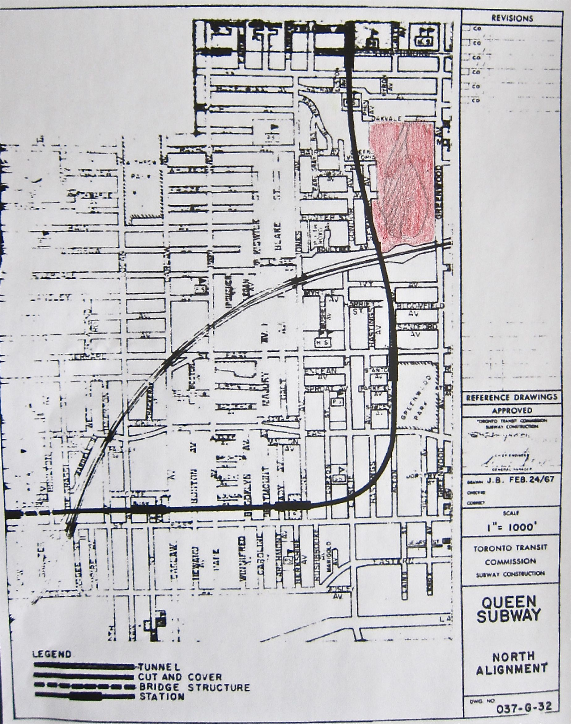 Greenwood yards are indicated in pink and the connection with the Bloor-Danforth is at Donlands station in this 1968 plan.