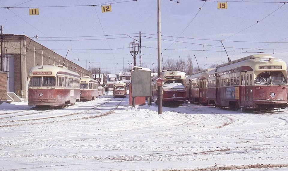 Looking into the Danforth TTC faciltiy from Coxwell in the 1960s. The ugly walls weren't added until the site became a bus garage (1967-2002).