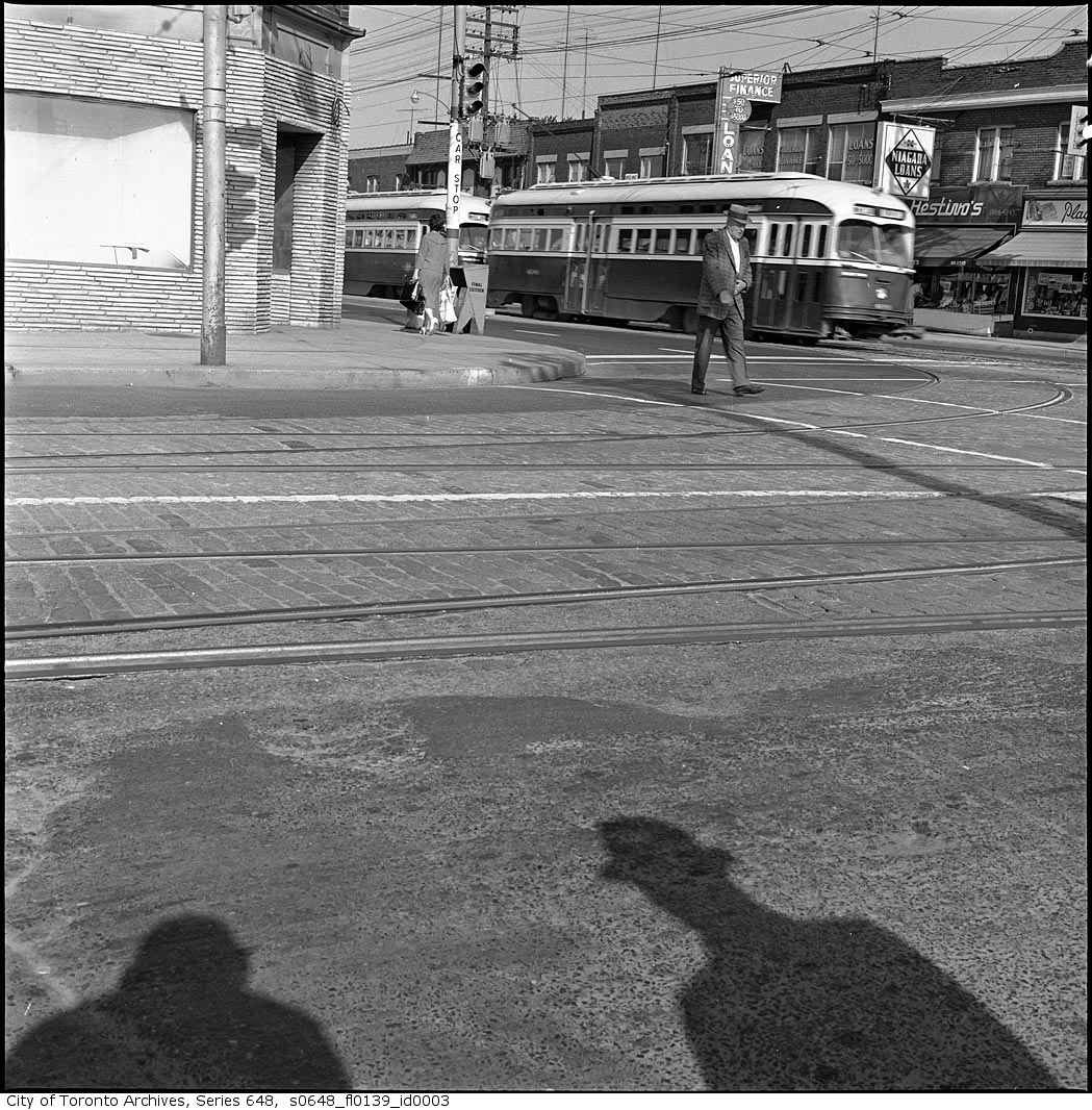 I love the shadow in the foreground of this photo of Danforth and Coxwell by Eric Trussler, who shot a lot for the TTC and the city.