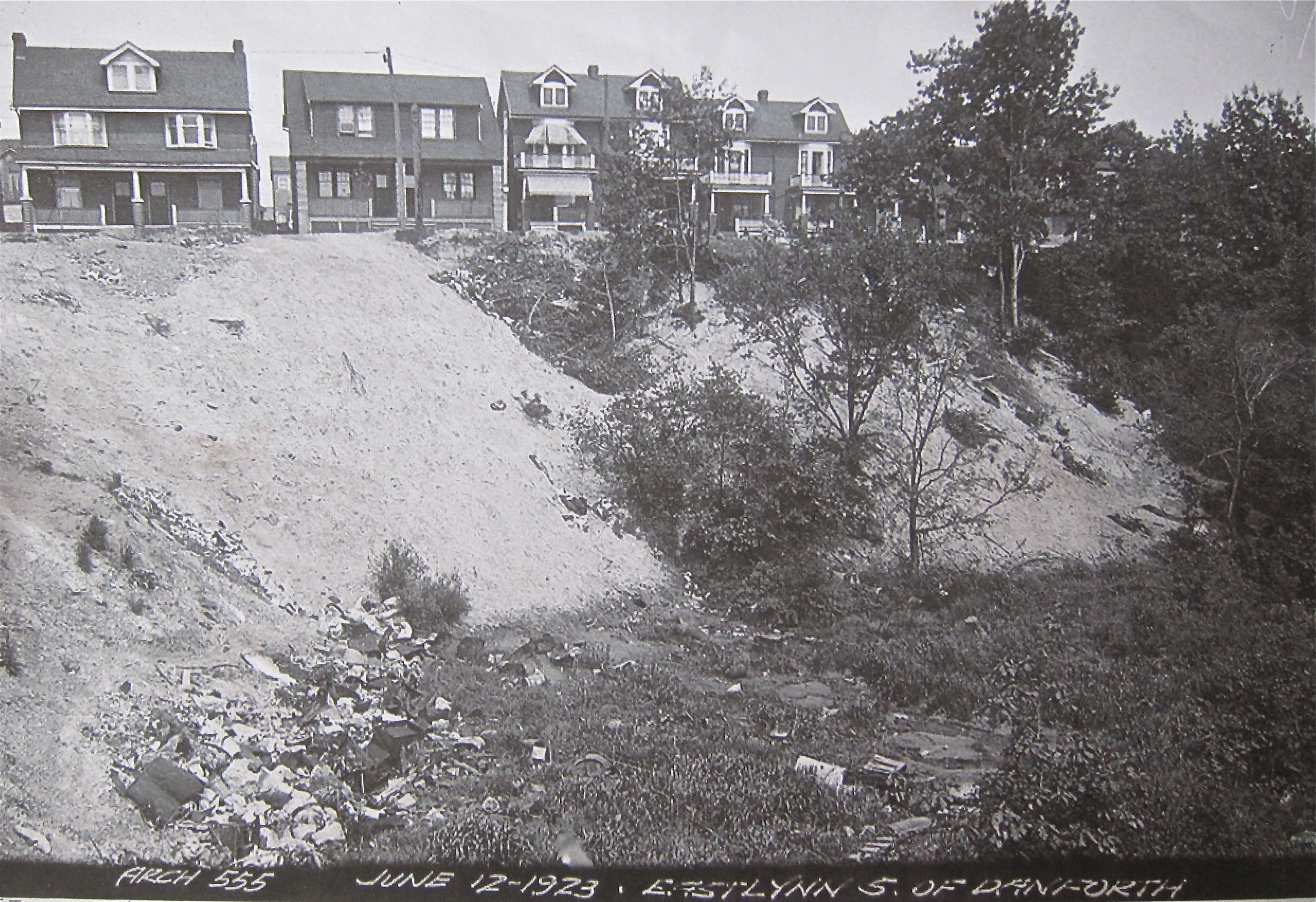 In this 1923 photo, you can see that East Lynn Park was a quite deep ravine. The creek was rerouted into a sewer and much landfill made things much shallower.