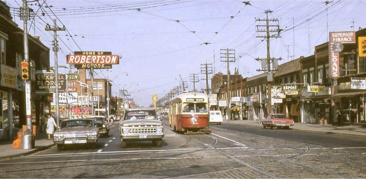 Danforth and Coxwell looking west in the mid-1960s. Robertson Chev-Olds was once the country's busiest GM dealership, employing 350 people.