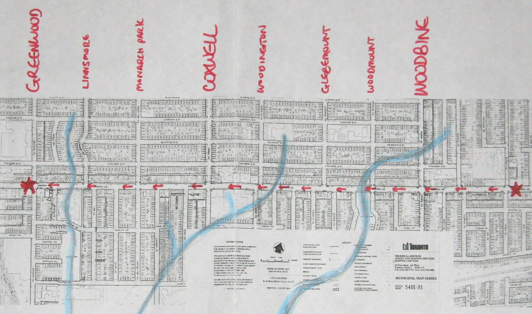 A map of our walk, which will cross three of the five creeks that once made it difficult to keep the Don and Danforth Plank Road passable east of Pape. The creeks and the less-than-convenient access to the city in the pre-viaduct era, were big contributors to the fact this area of Midway, (Upper Midway as many called the turf north of the railway tracks), remained rural into the early 1920s.
