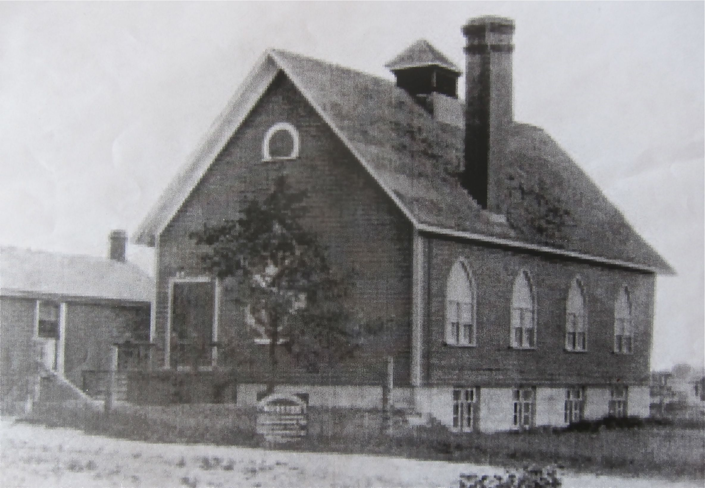 The Danforth Mennonite Church bought land east of Woodbine (Third Line East) in 1907, making it the only single land user on our walk that the predates the annexation of Upper Midway by the city in 1909. This a a 1911 photo.