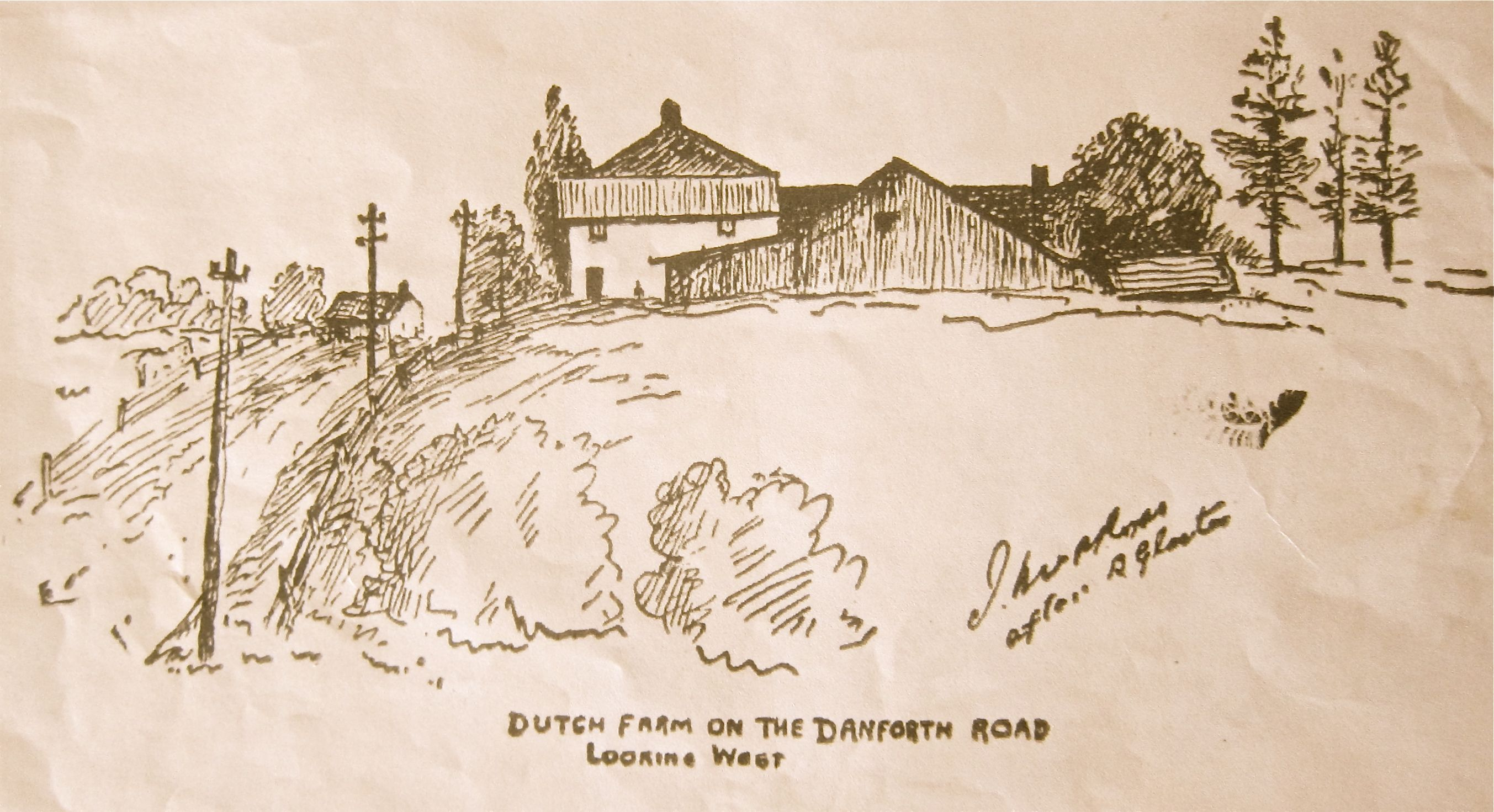As we climb up the slope on the west side of the East Lynn ravine, we come to the Dutch Farm, which in the late 1800s was an inn run by Charles Heber, known for fine meals, comfortable beds and excellent home brew beer. That's muddy Danforth on the left in this drawing provided by a past Jane's Walk participant.