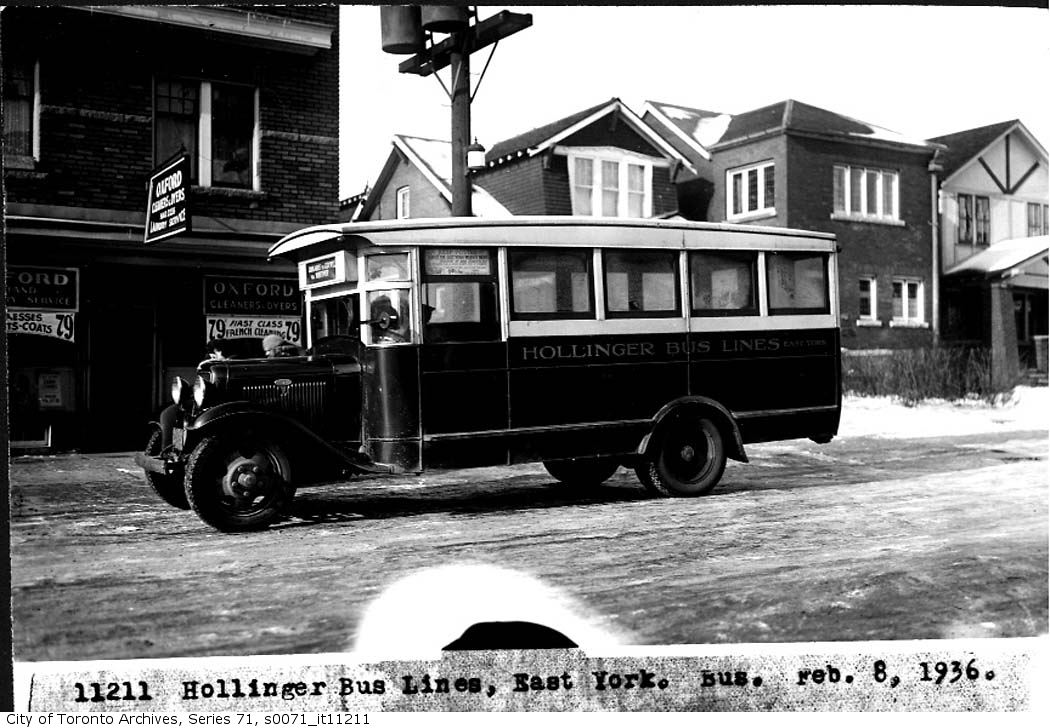 Hollinger bus lines, serving the Township of East York, was a profitable transit company until being absorbed by the TTC in 1954. This bus is shown on Coxwell, just north of Danforth, and would have been on its way to the Bus Terminal on the Danforth that we now know as a breakfast spot.