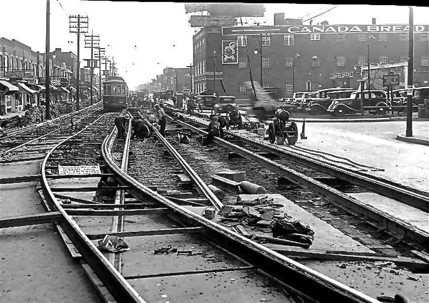 Looking east from Greenwood to Canada Bread. Though most of the area's employment was south, along the rail corridor, the Danforth had several fairly large employers.