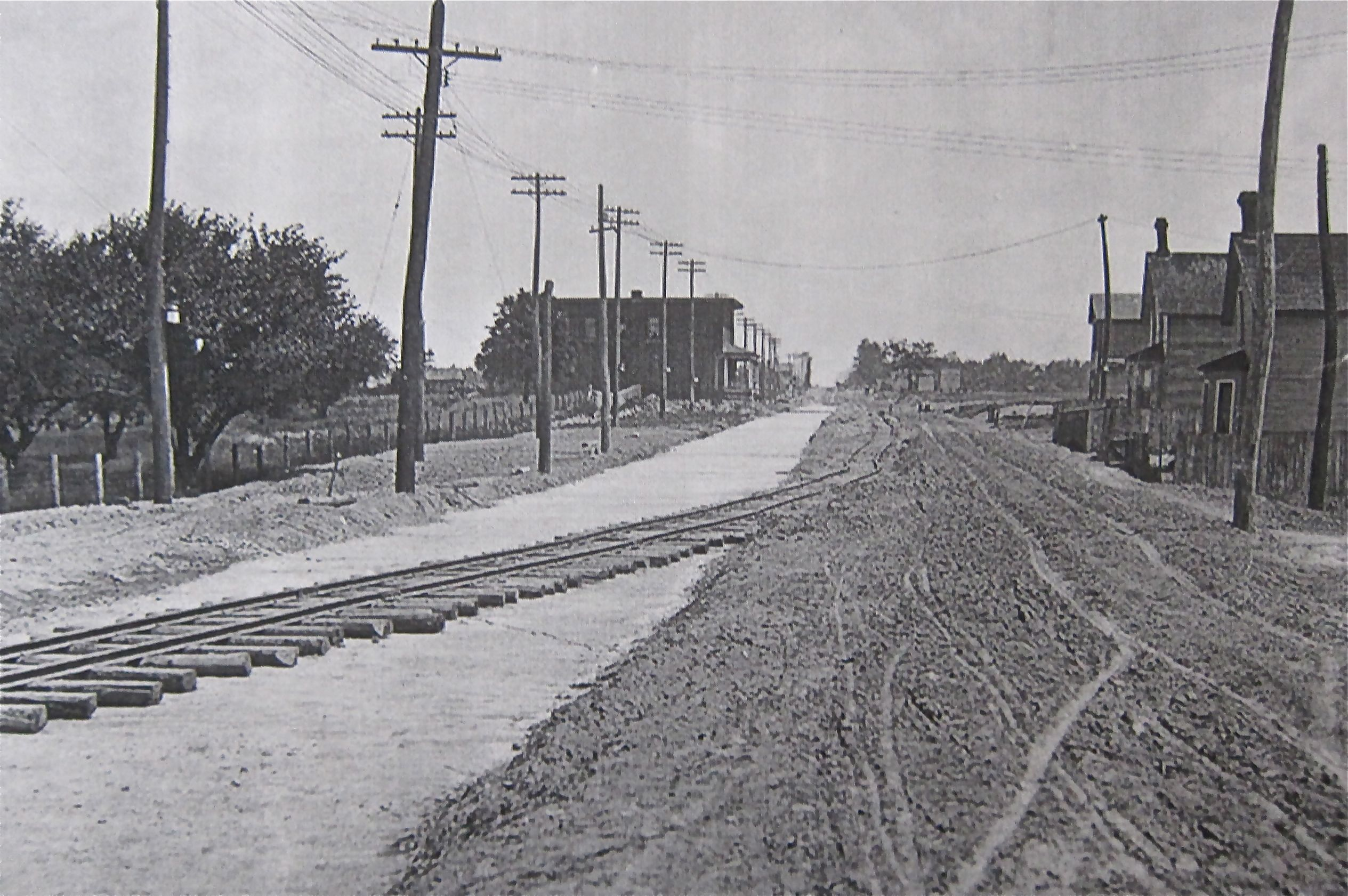 Preparation work for streetcar track construction involved laying some temporary rails on the East Danforth.
