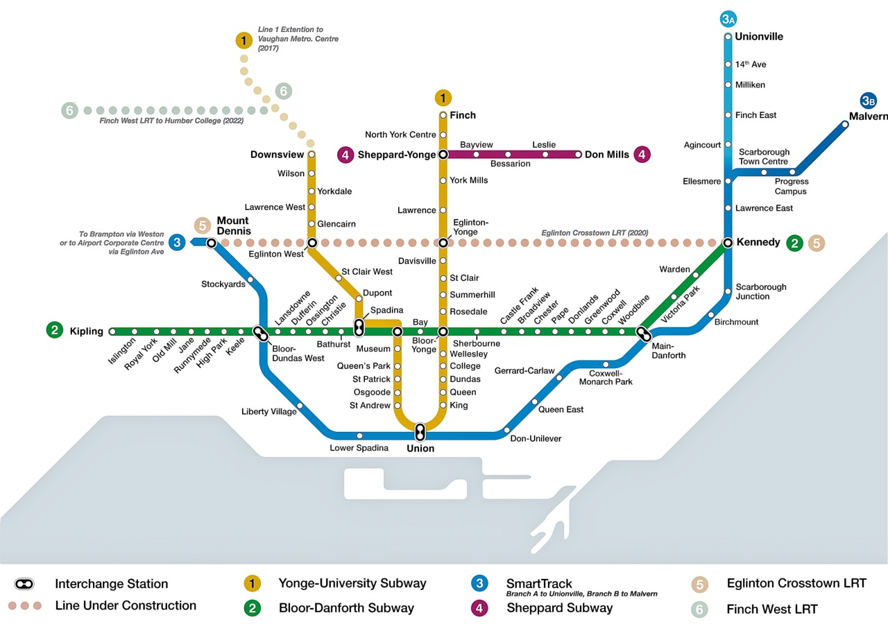 Here's the branch line in the broader context, and we've taken the liberty of fixing the SmartTrack station spacing in east Toronto to improve the line's ability to relieve subway crowding.