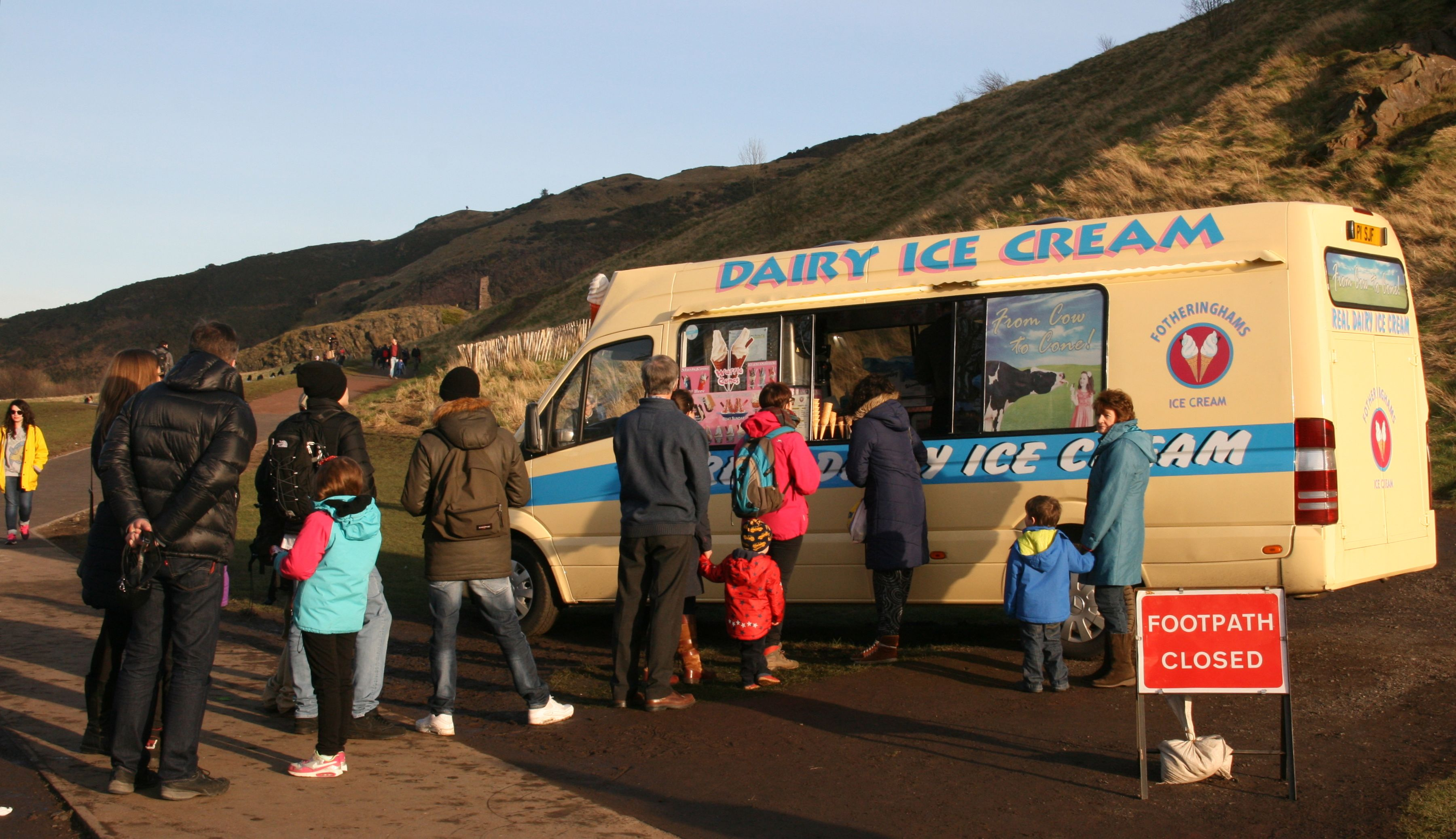 There was a lineup for ice cream, in February in Edinburgh's Holyrood Park at the foot of Arthur's Seat.